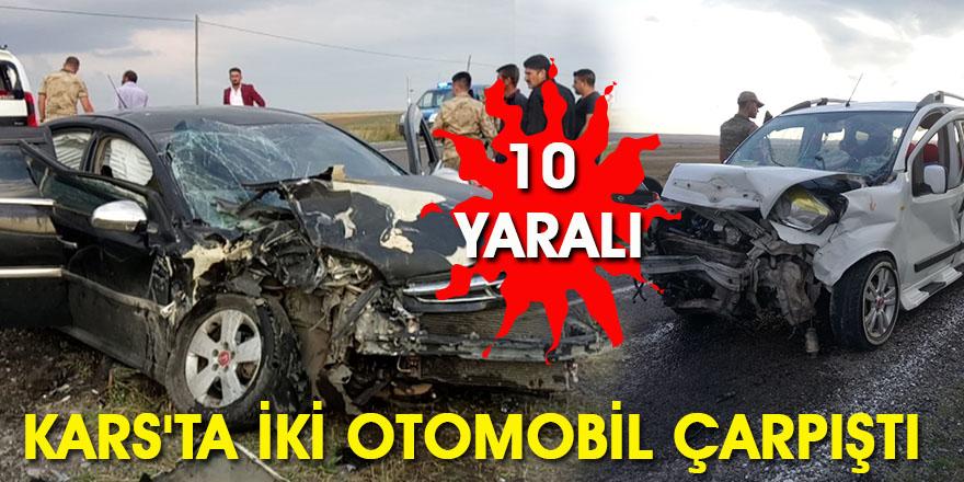 Kars'ta İki Otomobil Çarpıştı: 10 Yaralı