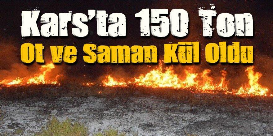 Kars'ta 150 ton ot ve saman kül oldu