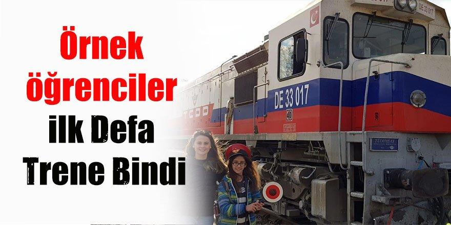 Örnek öğrenciler ilk defa trene bindi