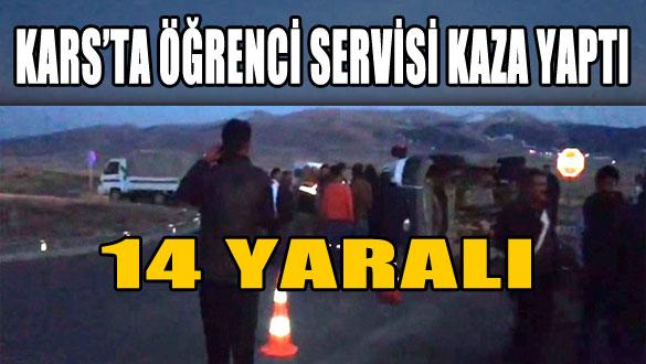 Kars'ta Öğrenci Servisi Kaza Yaptı: 14 Yaralı