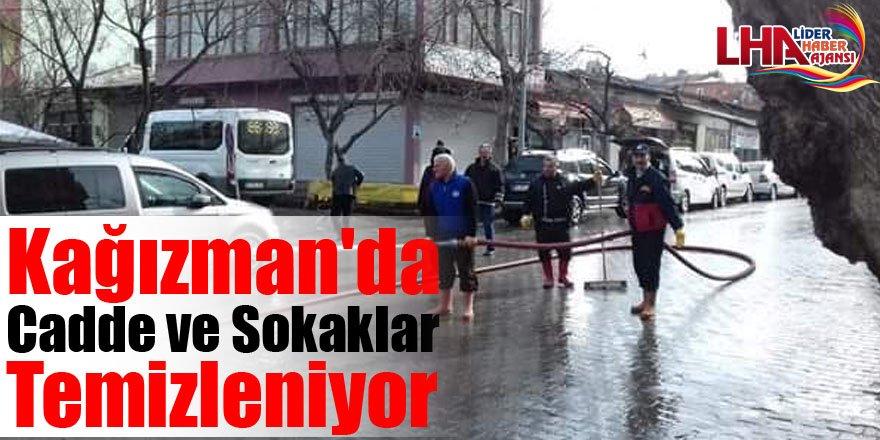 Kağızman'da Cadde Ve Sokaklar Temizleniyor