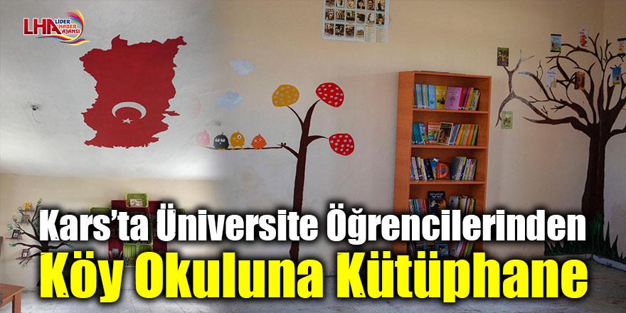 Kars'ta üniversite öğrencilerinden köy okuluna kütüphane