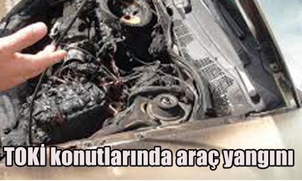 TOKİ konutlarında araç yangını