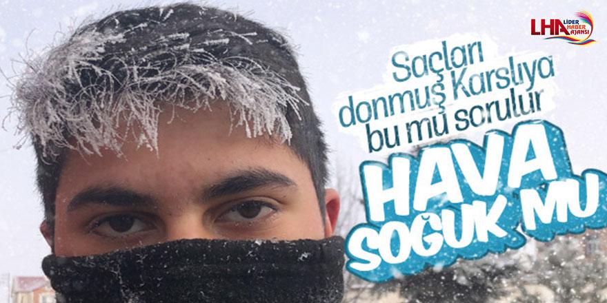 Kars'ta Soğuktan Vatandaşların Saçları ve Kirpikleri Dondu