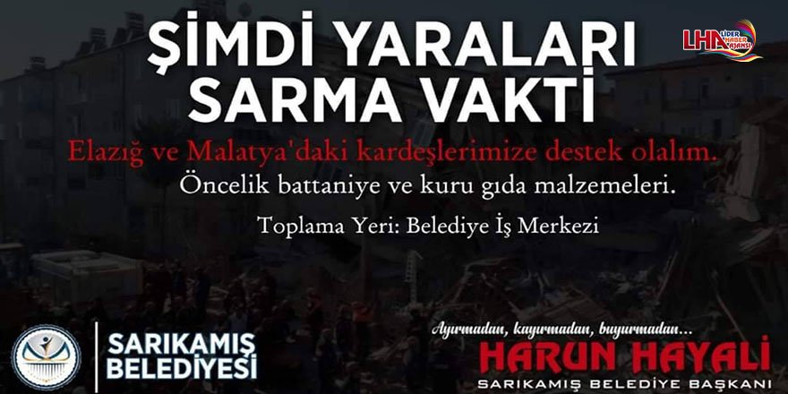 Sarıkamış Belediyesinden Elazığ'a  Yardım Kampanyası