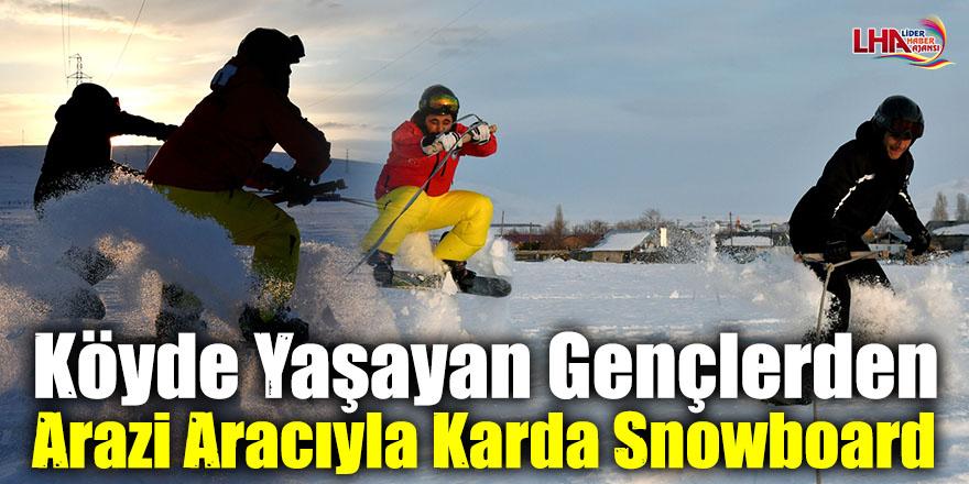 Köyde Yaşayan Gençlerden Arazi Aracıyla Karda Snowboard