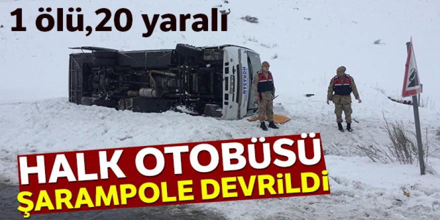 Erzurum'da halk otobüsü devrildi: 1 ölü, 20 yaralı
