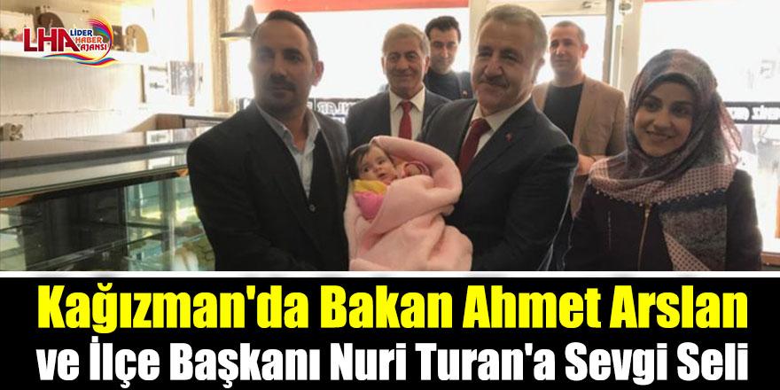 Kağızman'da Bakan Ahmet Arslan ve İlçe Başkanı Nuri Turan'a Sevgi Seli