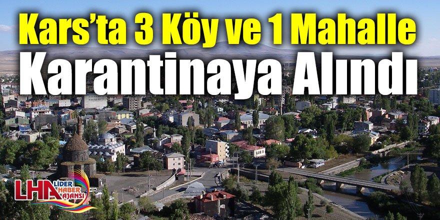 Kars'ta 3 Köy ve 1 Mahalle Karantinaya Alındı