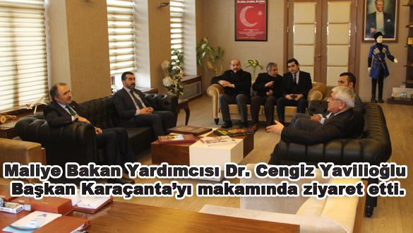 Maliye Bakan Yardımcısı Dr. Cengiz Yavilioğlu Kars Belediye Başkanı Murtaza Karaçanta'yı makamında ziyaret etti.