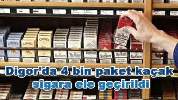 Digor'da 4 bin paket kaçak sigara ele geçirildi