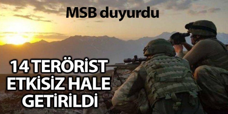Fırat Kalkanı Bölgesinde 14 terörist öldürüldü