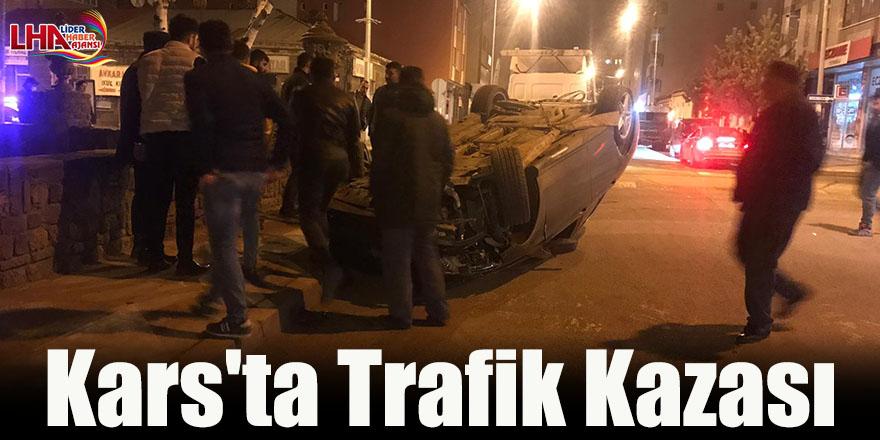 Kars'ta Kaza Yapan Otomobil Ters Döndü