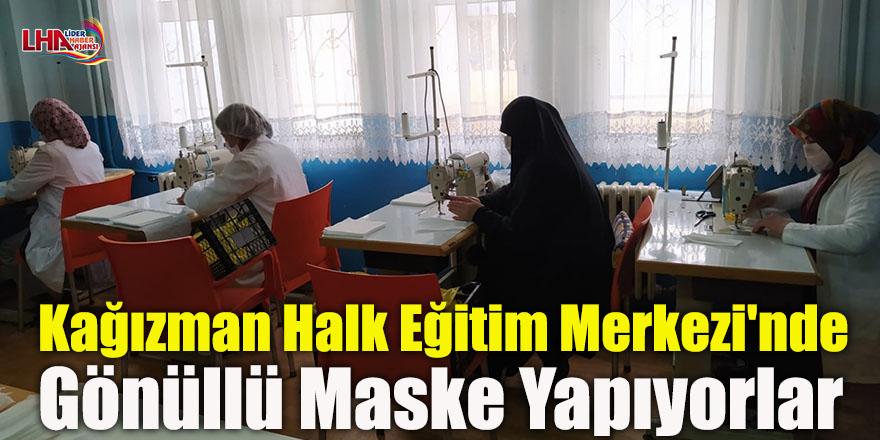 Kağızman Halk Eğitim Merkezi'nde Gönüllü Maske Yapıyorlar