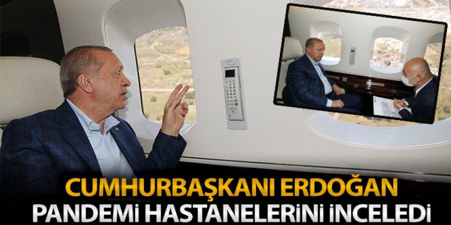 Cumhurbaşkanı Erdoğan, pandemi hastanelerini havadan inceledi