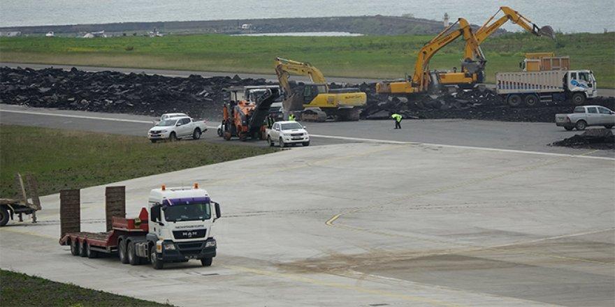 Onarıma alınan Trabzon Havalimanı pisti geri dönüşüme kazandırılacak