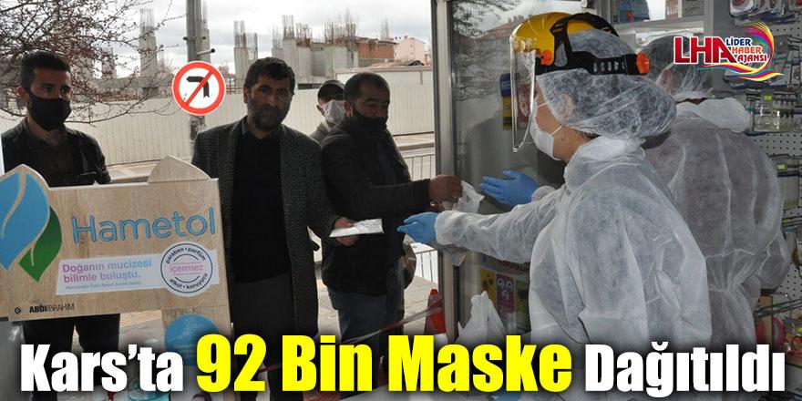 Kars'ta 92 Bin Maske Dağıtıldı