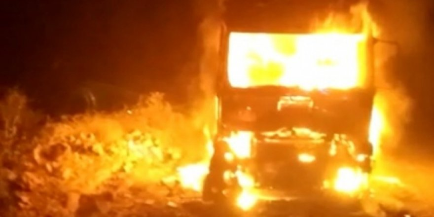 Mardin'de park halindeki tır alev alev yandı