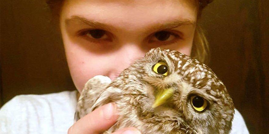 9 yaşındaki Defne yaralı baykuşu iyileştirdi