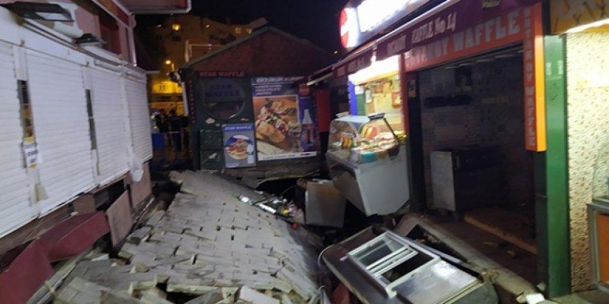 Ortaköy'de yol çöktü, 1 kadın yaralandı