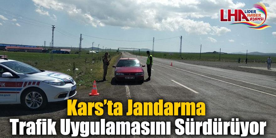 Kars'ta Jandarma Trafik Uygulamasını Sürdürüyor