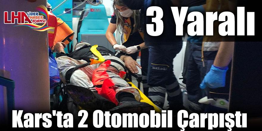Kars'ta 2 Otomobil Çarpıştı: 3 Yaralı