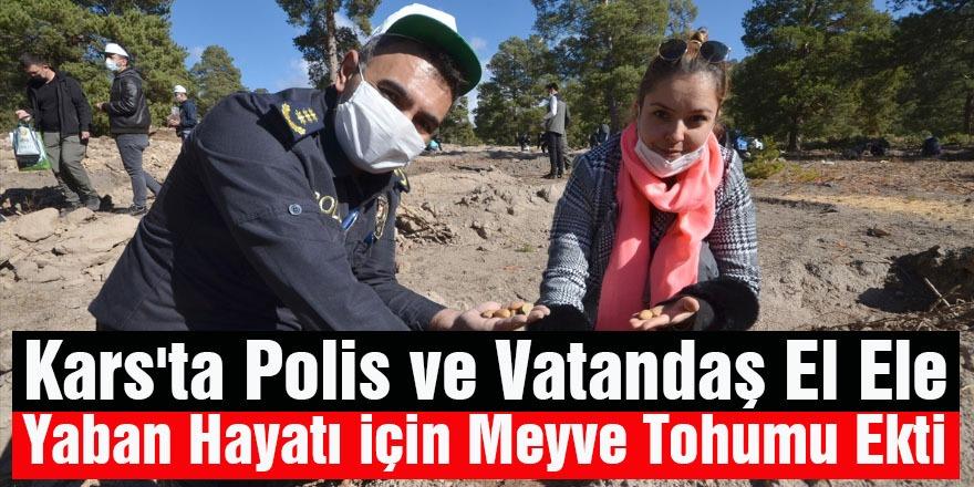 Kars'ta Polis ve Vatandaş El Ele Yaban Hayatı İçin Meyve Tohumu Ekti