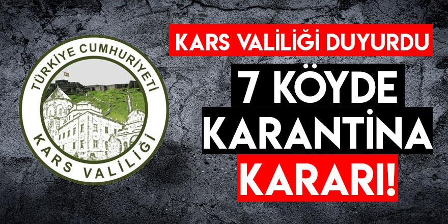 Kars Valiliği Duyurdu: 7 Köyde Karantina Kararı!