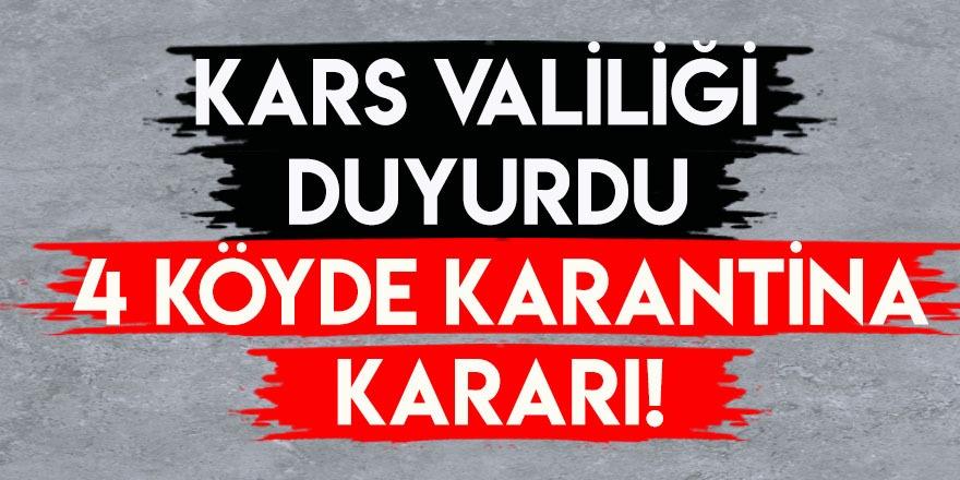Kars Valiliği Duyurdu: 4 Köyde Karantina Kararı!