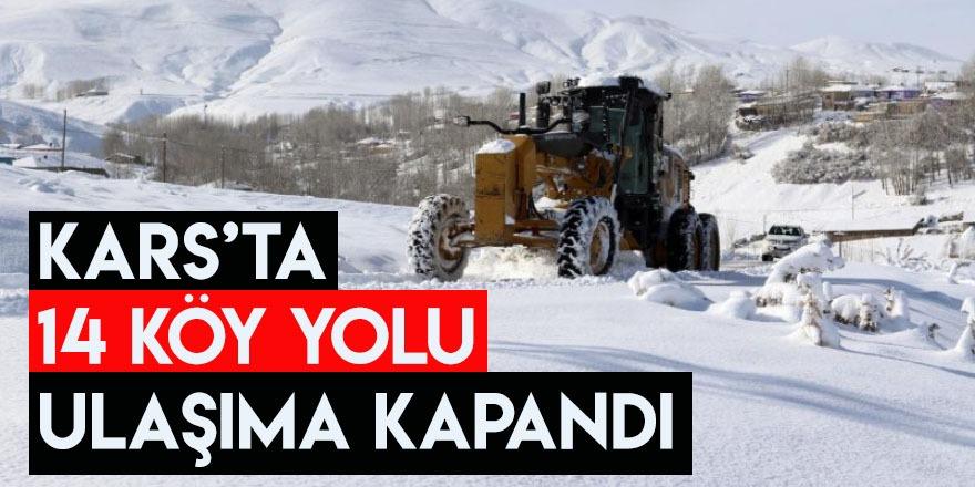 Kars'ta 14 Köy Yolu Ulaşıma Kapandı