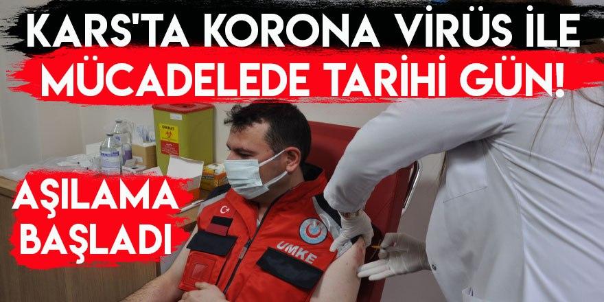 Kars'ta Sağlık Çalışanlarına Aşı Yapılmaya Başladı