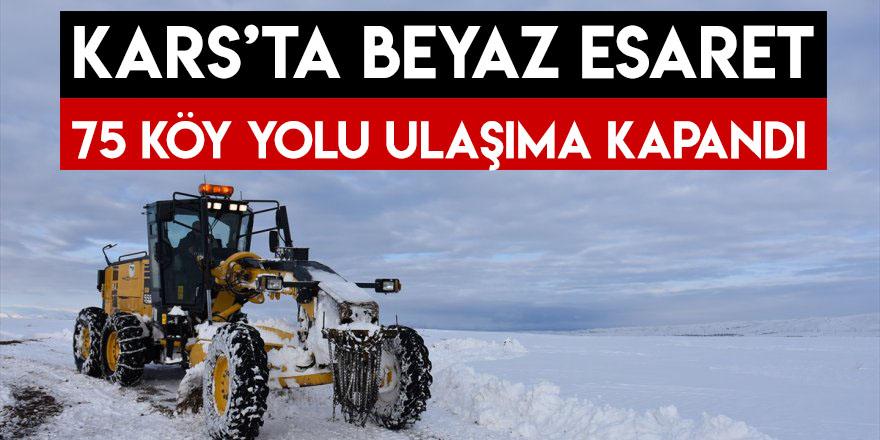 Kars'ta Beyaz Esaret 75 Köy Yolu Ulaşıma Kapandı