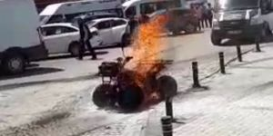 Kars'ta ATV motoru alev alev yandı