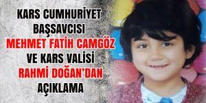 Kars Cumhuriyet Başsavcısı Mehmet Fatih Camgöz ve Kars Valisi Rahmi Doğan'dan açıklama!