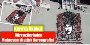 Kars'ta ilkokul öğrencilerinden muhteşem Atatürk koreografisi