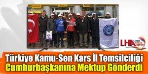 Türkiye Kamu-Sen Kars İl Temsilciliği Cumhurbaşkanına mektup gönderdi
