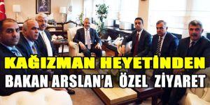 Kağızman Heyetinden, Bakan Arslan'a  Özel  Ziyaret