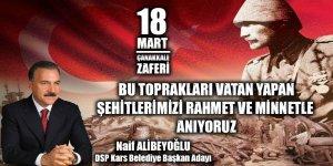 Naif Alibeyoğlu'nun 18 Mart Şehitleri Anma Günü ve Çanakkale Zaferi Mesajı