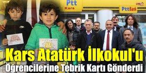 Kars Atatürk İlkokul'u Öğrencilerine Tebrik Kartı Gönderdi