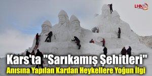 """Kars'ta """"Sarıkamış Şehitleri"""" Anısına Yapılan Kardan Heykellere Yoğun İlgi"""