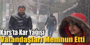Kars'ta Kar Yağışı Vatandaşları Memnun Etti