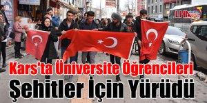 Kars'ta Üniversite Öğrencileri Şehitler İçin Yürüdü