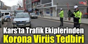 Kars'ta Trafik Ekiplerinden Korona Virüs Tedbiri