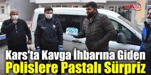 Kars'ta Kavga İhbarına Giden Polislere Pastalı Sürpriz