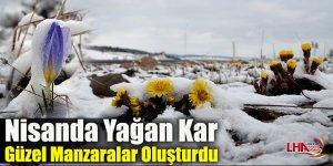 Nisanda yağan kar güzel manzaralar oluşturdu