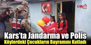 Kars'ta Jandarma ve Polis Köylerdeki Çocukların Bayramını Kutladı