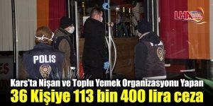 Kars'ta Nişan ve Toplu Yemek Organizasyonu Yapan 36 Kişiye 113 bin 400 lira ceza
