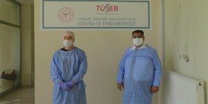 Kocaeli'de sanayi çalışanlarının virüs taraması için yapılan merkez görüntülendi