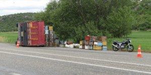 Devrilen kamyonetteki arılar karayolunu bastı