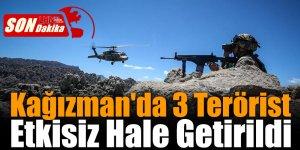Kağızman'da 3 Terörist Etkisiz Hale Getirildi